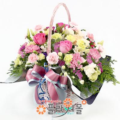 [당일배송]수줍은 고백♡ 장미 꽃바구니 꽃다발 생일 기념일 꽃선물_꽃배달당일배송_명품 전국꽃배달_[플라워몰]