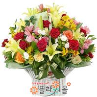 [당일배송]우리둘이 영원히♡ 빨간장미 백합 꽃바구니 꽃다발 생일 기념일 꽃선물_꽃배달당일배송_명품 전국꽃배달_[플라워몰]