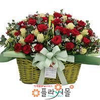 행복미소 50송이 대형꽃바구니 꽃선물_꽃배달[플라워몰]