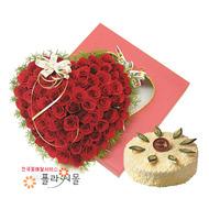 내마음 100송이 장미_ 하트장미꽃상자 꽃상자와케익 생일 기념일 꽃선물 플라워몰