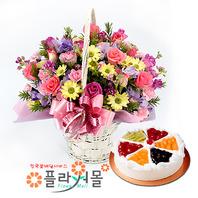 [꽃과케익 당일배송]소망편지♡ 장미 혼합 꽃바구니 꽃다발 생일 기념일 꽃선물 케잌배달_ 전국 당일꽃배달서비스_명품 전국꽃배달케익배달[플라워몰]