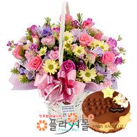 [꽃과케익 당일배송]사랑의 마음♡ 장미 꽃바구니 꽃다발 생일 기념일 꽃선물 케잌배달_ 전국 당일꽃배달서비스_명품 전국꽃배달케익배달[플라워몰]