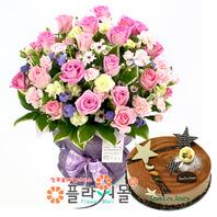 [꽃과케익 당일배송]내게로와♡ 장미 혼합 꽃바구니 꽃다발 생일 기념일 꽃선물 케잌배달_ 전국 당일꽃배달서비스_명품 전국꽃배달케익배달[플라워몰]