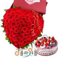 [꽃과케익 당일배송][100송이]내사랑을 보내요(백송이장미)♡ 하트대형꽃다발 대왕꽃다발 꽃박스 생일 기념일 꽃선물_꽃배달당일배송_명품 전국꽃배달_[플라워몰]