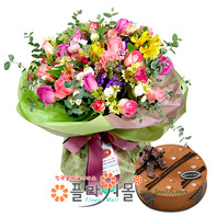 [꽃과 케익 당일배송]보고싶다♡ 장미혼합꽃다발 생일 기념일 꽃선물_전국 당일꽃배달서비스_명품꽃배달[플라워몰]