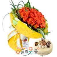 [꽃과 케익 당일배송]인연이라고하죠♡ 장미꽃다발 생일 기념일 꽃선물_전국 당일꽃배달서비스_명품꽃배달[플라워몰]