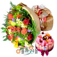 [꽃과 케익 당일배송]사랑은 은하수다방에서♡ 장미혼합꽃다발 생일 기념일 꽃선물_전국 당일꽃배달서비스_명품꽃배달[플라워몰]