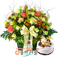 [꽃과케익 당일배송]끝없는 사랑♡ 장미 혼합 꽃바구니 꽃다발 생일 기념일 꽃선물 케잌배달_ 전국 당일꽃배달서비스_명품 전국꽃배달케익배달[플라워몰]
