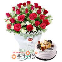 [꽃과케익 당일배송]나의 태양♡ 장미 꽃바구니 꽃다발 생일 기념일 꽃선물 케잌배달_ 전국 당일꽃배달서비스_명품 전국꽃배달케익배달[플라워몰]