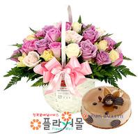 [꽃과케익 당일배송]고백하는 날♡ 장미 혼합 꽃바구니 꽃다발 생일 기념일 꽃선물 케잌배달_ 전국 당일꽃배달서비스_명품 전국꽃배달케익배달[플라워몰]
