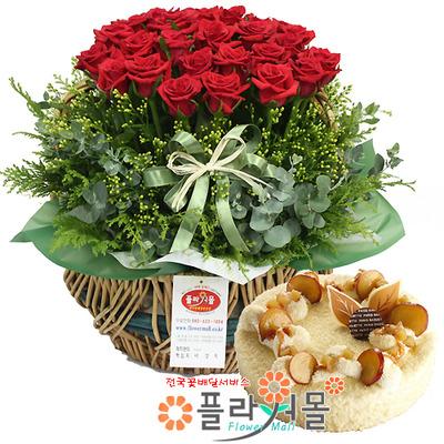 [꽃과케익 당일배송]내사랑그대♡ 장미 꽃바구니 꽃다발 생일 기념일 꽃선물 케잌배달_ 전국 당일꽃배달서비스_명품 전국꽃배달케익배달[플라워몰]