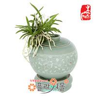 소엽풍-청자당초항아리(중)(택배상품)