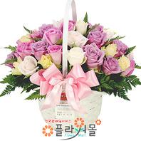 [당일배송]순수한사랑을 그대에게♡ 핑크장미 꽃바구니 꽃다발 생일 기념일 꽃선물_꽃배달당일배송_명품 전국꽃배달_[플라워몰]
