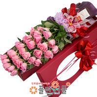 [당일배송]사랑이 그리운날에♡ 장미꽃다발 꽃상자 생일 기념일 꽃선물 꽃배달당일배송_ 전국꽃배달 전문[플라워몰]