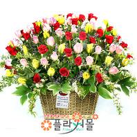 칵테일 사랑 100송이 장미_ 장미대형 꽃바구니 특별한 기념일 꽃선물 플라워몰