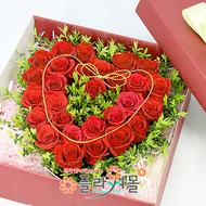 [당일배송]하나뿐인 동반자♡ 하트장미꽃상자 생일 기념일 꽃선물_전국 당일꽃배달서비스_명품꽃배달[플라워몰]