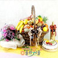 축하2호(꽃과 과일,샴펜(무알콜),케익)