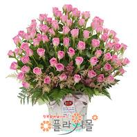 [당일배송][100송이]소중한 사랑(핑크백송이장미)♡ 대형꽃바구니 생일 기념일 꽃선물_꽃배달당일배송_명품 전국꽃배달_[플라워몰]