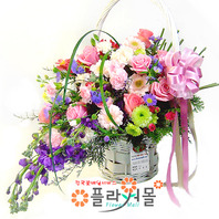 [당일배송]행복꽃이 피었습니다♡ 장미 꽃바구니 꽃다발 생일 기념일 꽃선물_꽃배달당일배송_명품 전국꽃배달_[플라워몰]