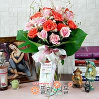 [당일배송]사랑의 계절(꽃병)♡ 장미혼합꽃다발 꽃병 생일 기념일 꽃선물_전국 당일꽃배달서비스_명품꽃배달[플라워몰]
