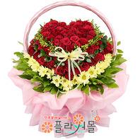 [당일배송][100송이]내 사랑담아(백송이장미)♡ 하트대형꽃바구니 생일 기념일 꽃선물_꽃배달당일배송_명품 전국꽃배달_[플라워몰]