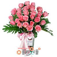 [당일배송]핑크로즈(꽃병)♡ 장미꽃다발 꽃병 생일 기념일 꽃선물_전국 당일꽃배달서비스_명품꽃배달[플라워몰]