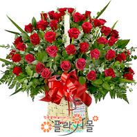 [당일배송]사랑하는 당신(50송이)♡ 대형꽃바구니 생일 기념일 꽃선물_ 꽃배달당일배송_명품 전국꽃배달_[플라워몰]