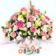 [당일배송]미소천사♡ 장미 꽃바구니 꽃다발 생일 기념일 꽃선물_꽃배달당일배송_명품 전국꽃배달_[플라워몰]
